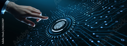 Cuadros en Lienzo Fingerprint scan provides security access with biometrics identification