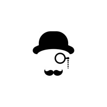 Gentleman Icon Isolated On White Background. Silhouette Of Man's Head With Moustache, Lorgnette Glasses And Bowler Hat.