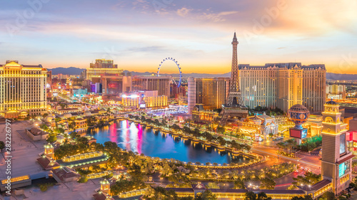 Canvas Prints Las Vegas cityscape of Las Vegas from top view in Nevada, USA