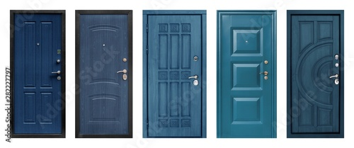 Photo Set of models of entrance metal doors isolated on white background