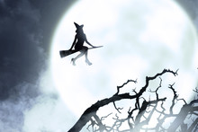 Silhouette Of Witch Woman Flying With A Broom