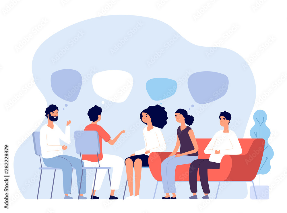 Fototapeta Addiction treatment concept. Group therapy, people counseling with psychologist, persons in psychotherapist sessions. Vector image. Illustration psychologist counseling group patient