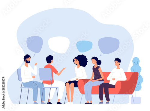 Fototapeta Addiction treatment concept. Group therapy, people counseling with psychologist, persons in psychotherapist sessions. Vector image. Illustration psychologist counseling group patient obraz