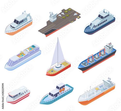 Isometric ships Wallpaper Mural