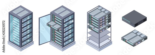 Cuadros en Lienzo  Isometric servers, data storages vector