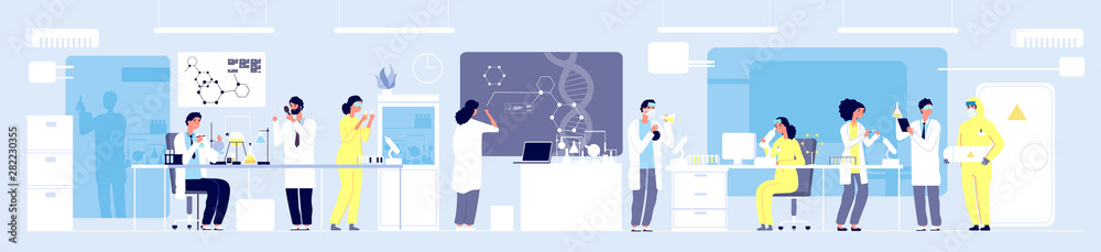Fototapeta Science researching lab. Professional scientists chemical researchers working with lab equipment. Molecular engineering vector concept. Illustration medical lab, research experiment biology molecular