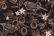 Seamless Pattern With Plants And Birds. Bird On A Branch Of Citrus Tree.