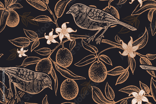 Seamless pattern with plants and birds Fotobehang