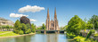 Leinwanddruck Bild - Cityscape of Strasbourg and the Reformed Church Saint Paul, France