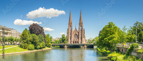 Cityscape of Strasbourg and the Reformed Church Saint Paul, France Fotobehang