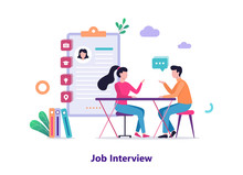Job Interview. Conversation Between Employer And Candidate