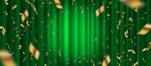 Spotlight On Green Curtain Background And Falling Golden Confetti. Vector Illustration.