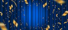 Spotlight On Blue Curtain Back...