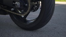 Detailed Shot Of Suzuki 750 GSXR Motorbike, Spinning Wheel, Smoke