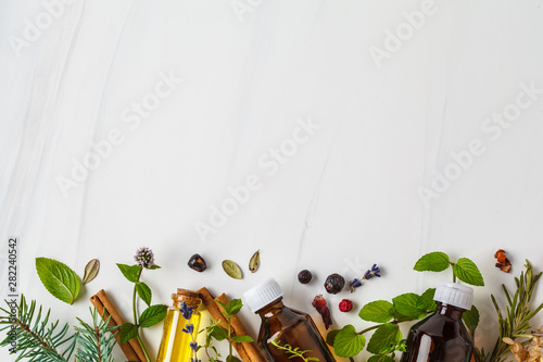 Fototapeta Ingredients for essential oil. Different herbs and bottles of essential oil, white background, copy space. obraz