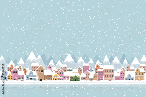 Photo sur Aluminium Bleu clair Winter town flat style with snow falling and mountain