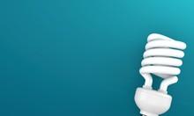 Light Bulb Cfl On Blue Background