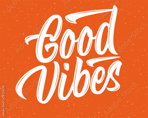 Good Vibes vector lettering sign on red textured background Wall mural