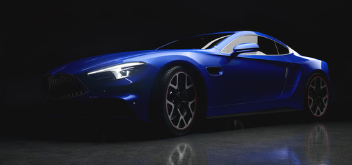 Modern blue sports car in a gentle light on black background