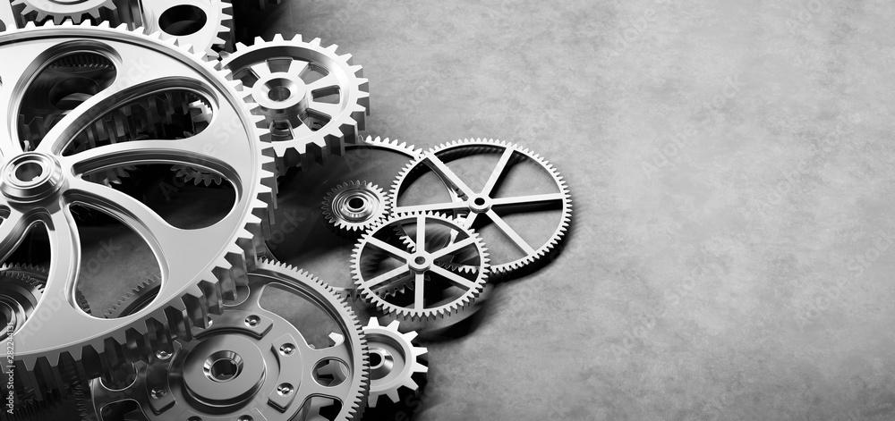 Fototapeta Gears and cogs mechanism. Industrial machinery