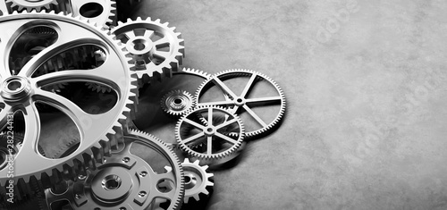 Fotomural  Gears and cogs mechanism. Industrial machinery