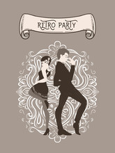 Retro Party Card, Man And Woman Dressed In 1920s Style Dancing, Flapper Girls Handsome Guy In Vintage Suit, Twenties, Vector Illustration