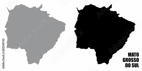 Fotografija  Mato Grosso do Sul silhouette maps isolated on white background