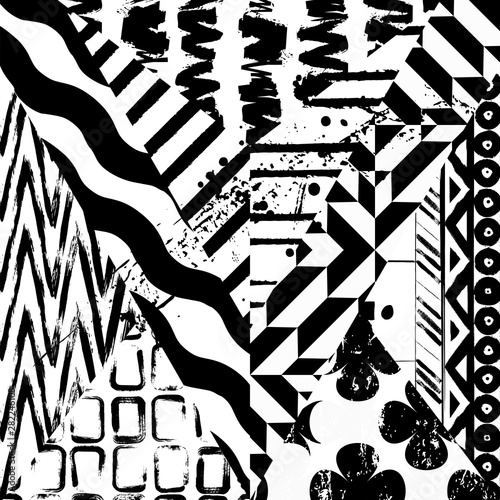 abstract pattern background, with strokes and splashes, black and white