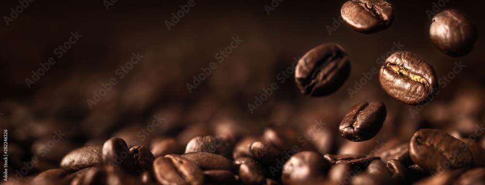 Fototapeta Coffee Beans Closeup On Dark Background