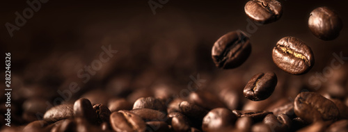 Fotografie, Obraz Coffee Beans Closeup On Dark Background