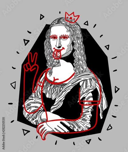 Mona Lisa - Gioconda by Leonardo da Vinci. Crazy style. Canvas Print