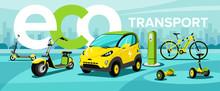 Flat Vector Illustration Of Eco Transport, Hoverboard