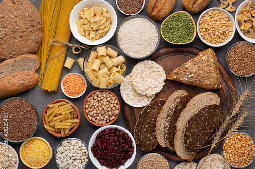 Fotografía Selection of gluten free products on wooden background