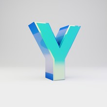 Sky Blue 3d Letter Y Uppercase. Metal Font With Glossy Reflections And Shadow Isolated On White Background.