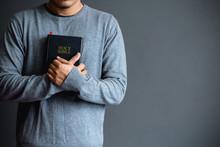 Man Holding A Bible , Believe Concept.copy Space