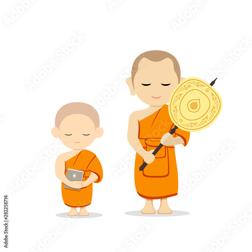 Foto Thai monks talipot fan in hand and thai novice book in hand vector, isolated on