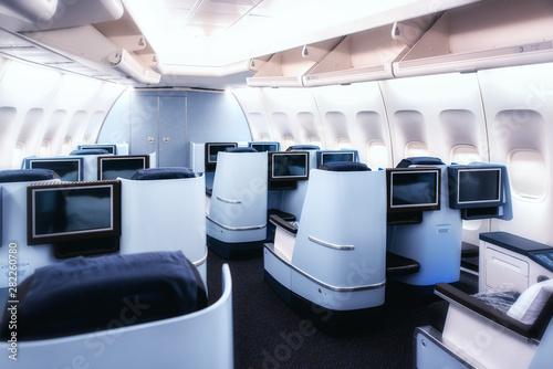 Fototapeta Airplane cabin business class interior view