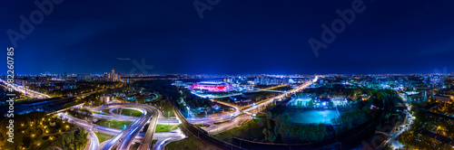Night Aerial view panorama of a freeway intersection traffic trails in night Moscow - 282260785
