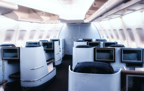 Photo Airplane cabin business class interior view