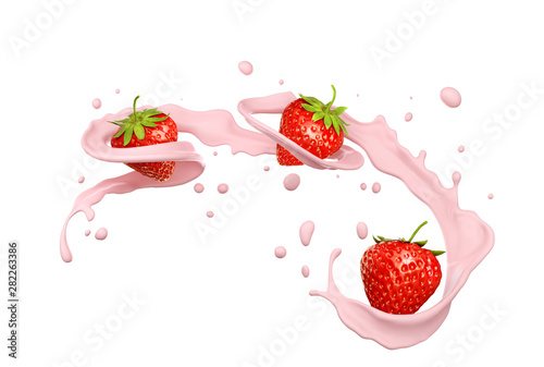 milk splash with strawberry isolated on white background, 3d illustration.