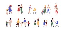 Bundle Of Walking Families. Collection Of Mothers, Fathers And Children Spending Time Together. Set Of Strolling Parents And Kids Isolated On White Background. Flat Cartoon Vector Illustration.