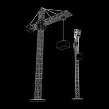 Tower Construction Building Crane. Wireframe Low Poly Mesh Vector Illustration