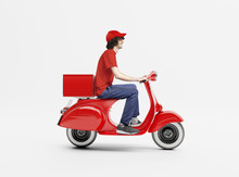Delivery Man With Scooter Background Concept.