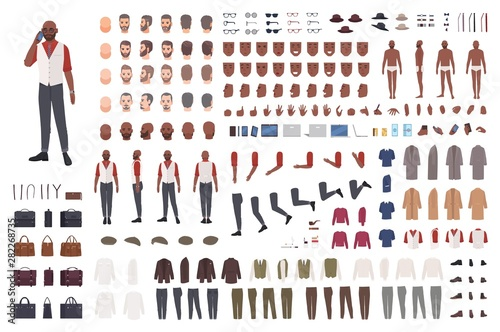Canvas Prints Height scale African American man creation set or avatar kit. Collection of male body parts in different poses, clothes isolated on white background. Front, side, back views. Flat cartoon vector illustration.