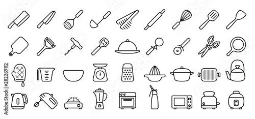 Valokuva  Kitchen Utensils and Tool Icon Set (Thin Line Version)