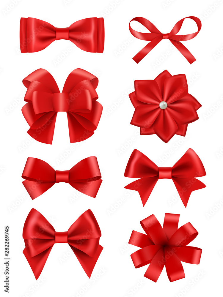 Fototapeta Bow realistic. Ribbons for decoration hair bow celebration party items vector collection. Illustration of red bow ribbon, satin silk tie