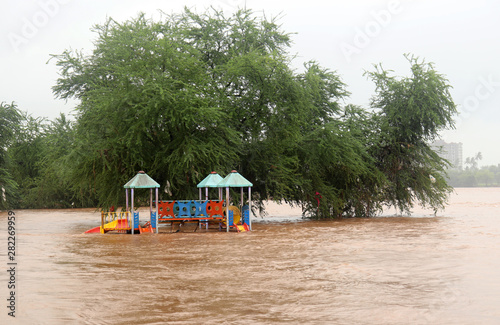 Flooded area near river Canvas Print