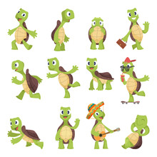 Cartoon Turtles. Happy Funny A...