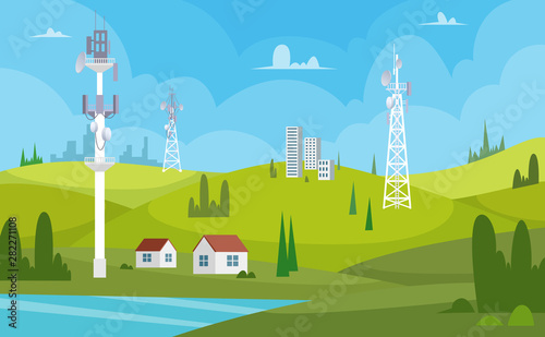 Communication towers Canvas Print
