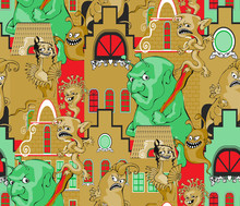Cute Monsters. Seamless Pattern. Vector Illustration. Suitable For Fabric, Wrapping Paper And The Like